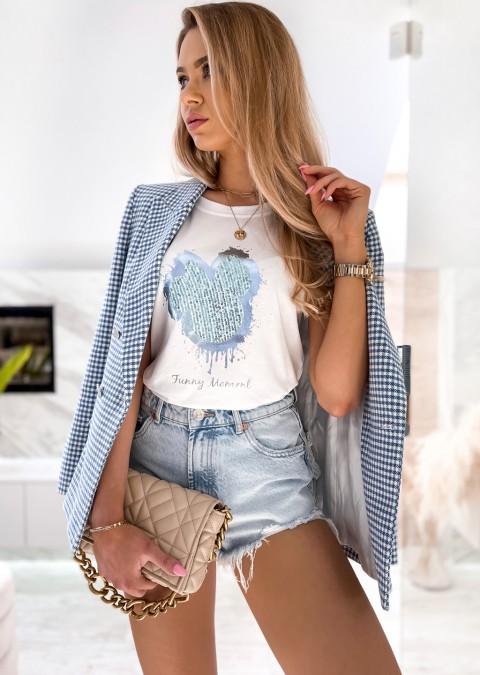 Włoski t-shirt FUNNY MOMENT biały z niebieskim zdobieniem