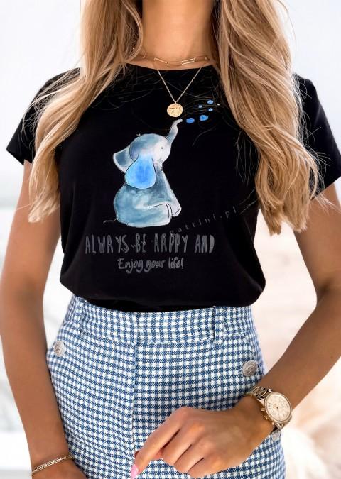 Włoski t-shirt ELEPHANT czarny/niebieski