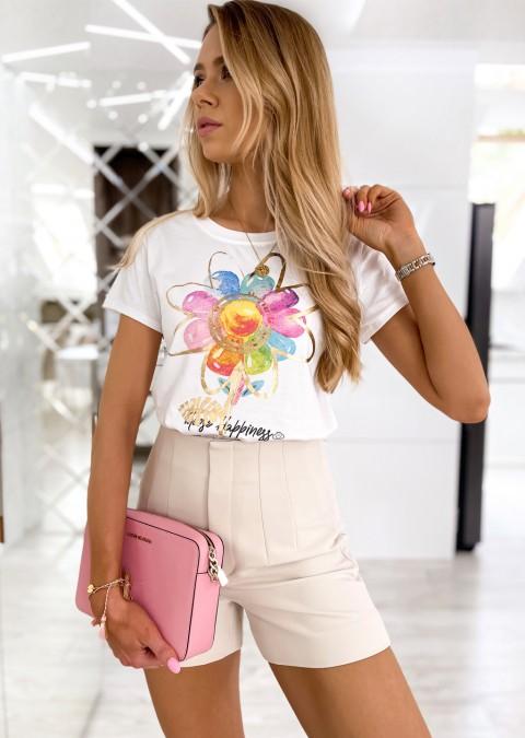 Włoski t-shirt FLOWER biały/złoty