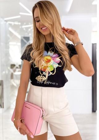 Włoski t-shirt FLOWER czarny/złoty