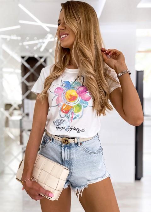 Włoski t-shirt FLOWER biały/niebieski