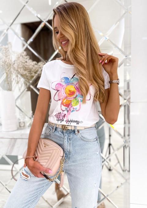 Włoski t-shirt FLOWER biały/róż