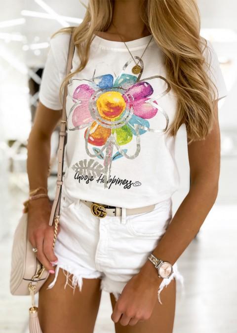 Włoski t-shirt FLOWER biały/srebrny