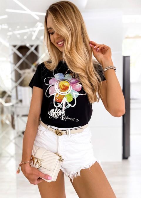 Włoski t-shirt FLOWER czarny/srebrny