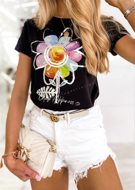 Włoski t-shirt FLOWER czarny/róż
