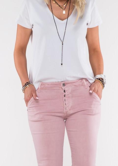 Włoskie jeansy GIACOMO guziki różowy