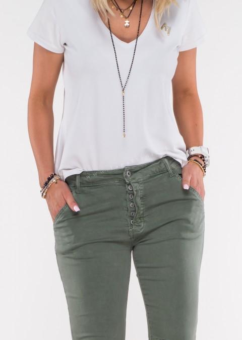 Włoskie jeansy GIACOMO guziki khaki