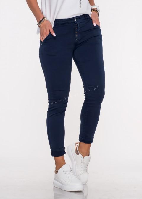 Włoskie jeansy GIACOMO guziki granatowy