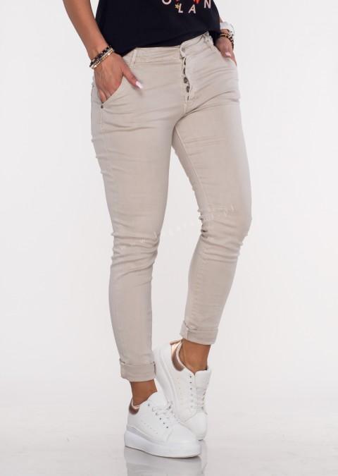 Włoskie jeansy GIACOMO guziki beżowy