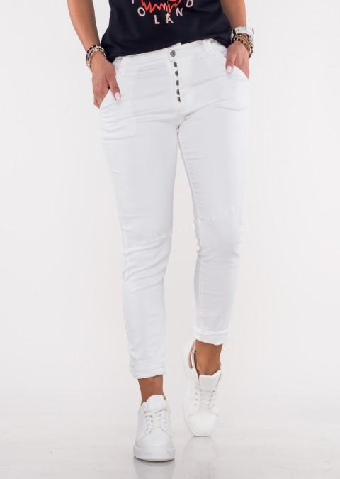 Włoskie jeansy GIACOMO guziki biały