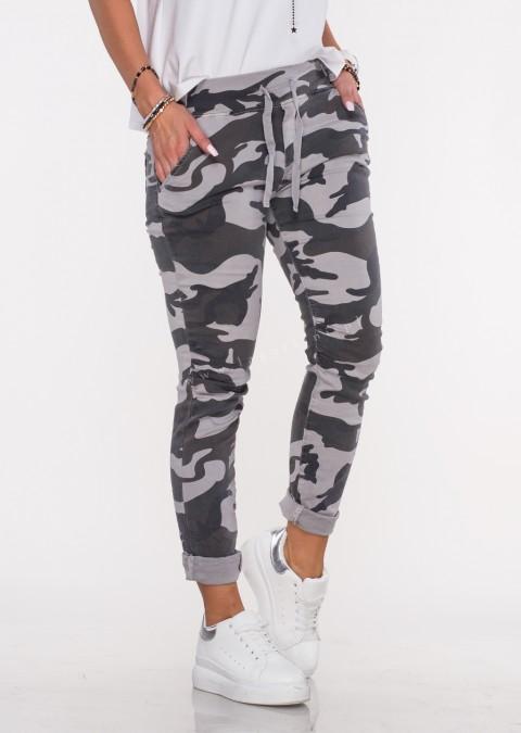 Włoskie spodnie dresowe jeans MILANO moro wzór 1
