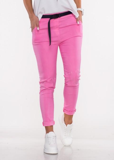 Włoskie spodnie GALLO + pasek różowe