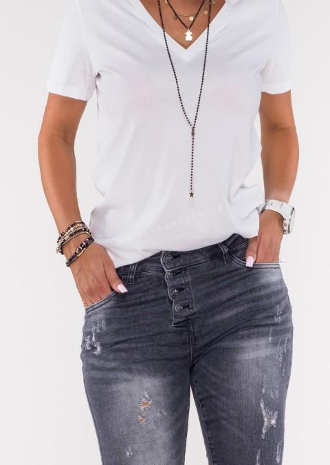 Włoskie jeansy VEGGIANO guziki czarny melanż