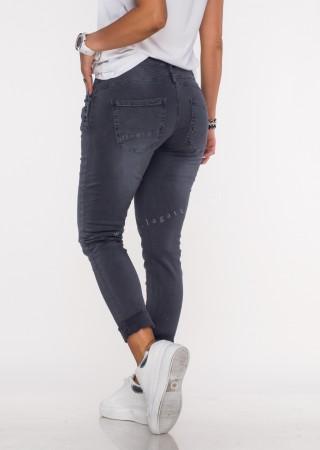 Włoskie jeansy GUZIKI PUSH UP przeszycia grafitowy /M7