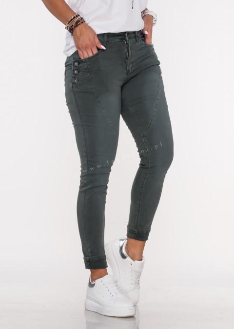 Włoskie jeansy GUZIKI PUSH UP przeszycia khaki /M6
