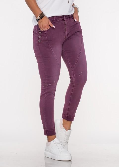 Włoskie jeansy GUZIKI PUSH UP przeszycia ciemny wrzos /M9