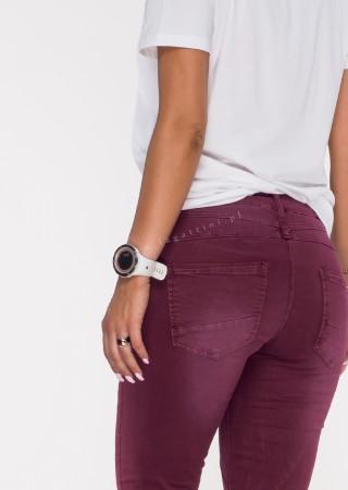 Włoskie jeansy GUZIKI PUSH UP przeszycia burgundowy /M3