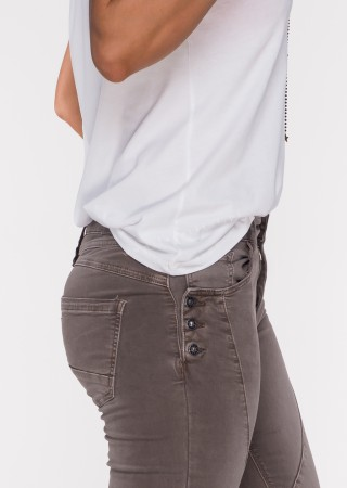 Włoskie jeansy GUZIKI PUSH UP przeszycia ciemny beż /M10