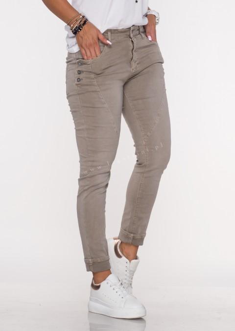 Włoskie jeansy GUZIKI PUSH UP przeszycia jasny beż /M4