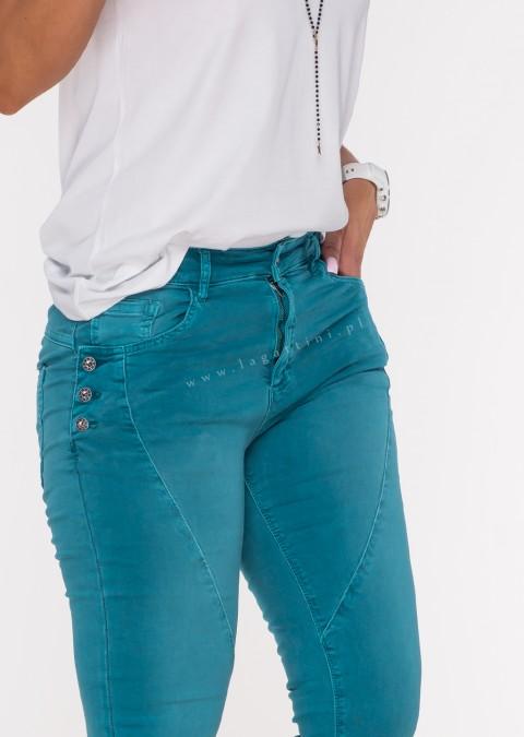 Włoskie jeansy GUZIKI PUSH UP przeszycia turkusowy /M15