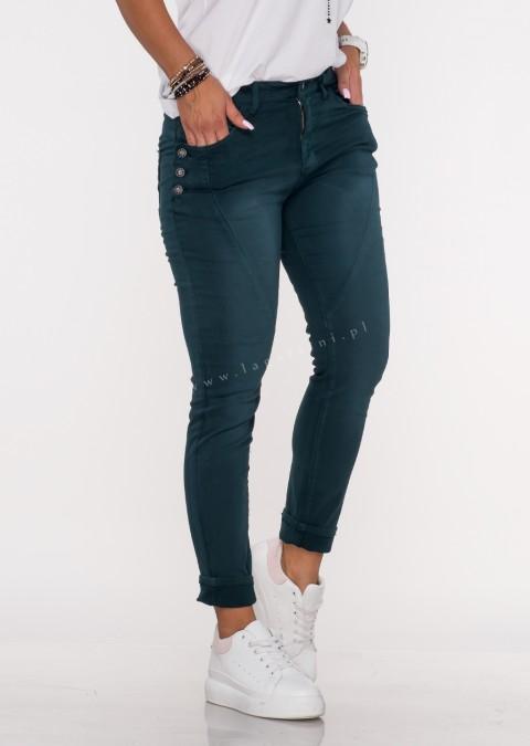 Włoskie jeansy GUZIKI PUSH UP przeszycia butelkowa zieleń /M14