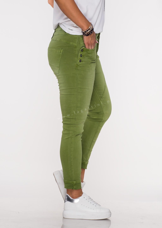 Włoskie jeansy GUZIKI PUSH UP przeszycia zielony /M5