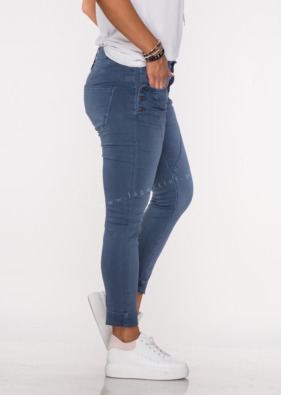 Włoskie jeansy GUZIKI PUSH UP przeszycia denim /M13