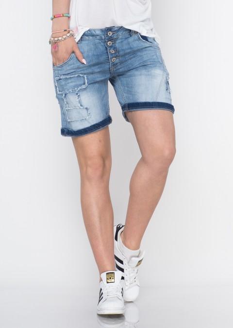 Włoskie szorty jeansowe guziki