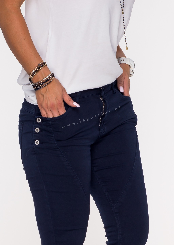 Włoskie jeansy GUZIKI PUSH UP przeszycia granatowy /P4