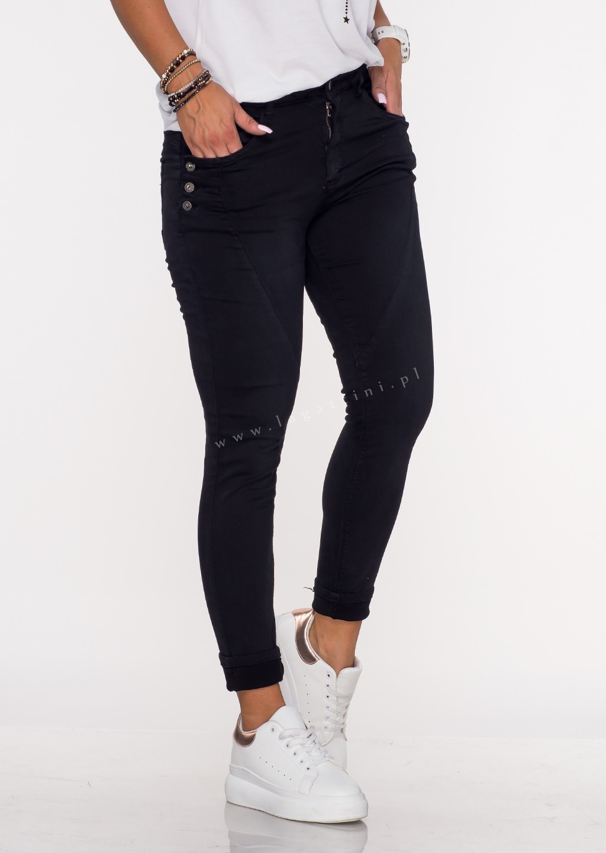 Włoskie jeansy GUZIKI PUSH UP przeszycia czarny /69