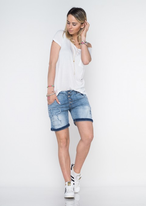 Italy szorty jeansowe guziki