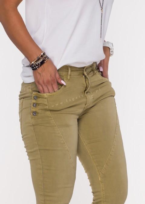 Włoskie jeansy GUZIKI PUSH UP przeszycia oliwkowy /12