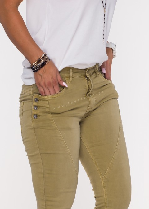 Włoskie jeansy GUZIKI PUSH UP przeszycia oliwokowy /12