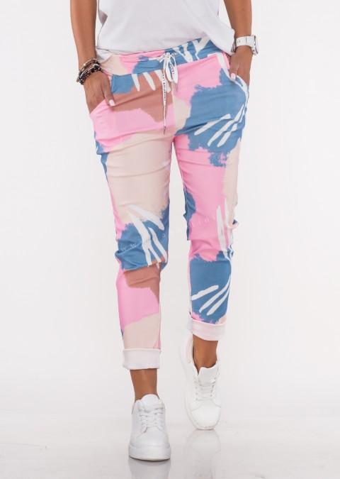 Włoskie spodnie COLORFUL logowany sznurek
