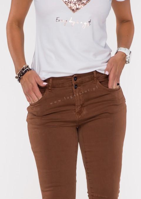 Włoskie jeansy FRASCATI 2 guziki brązowy /21
