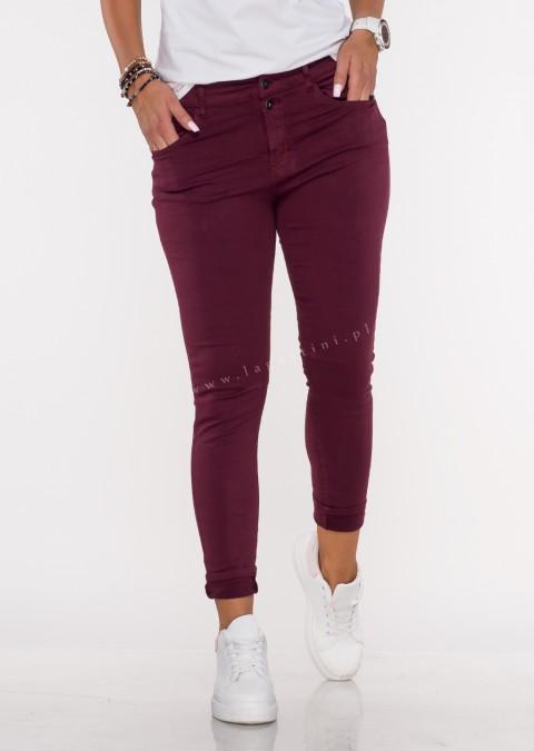 Włoskie jeansy FRASCATI 2 guziki bordowy /25