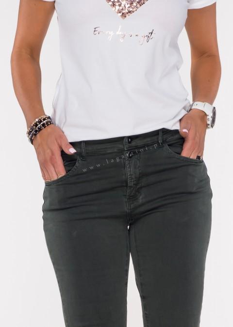Włoskie jeansy FRASCATI 2 guziki khaki /4