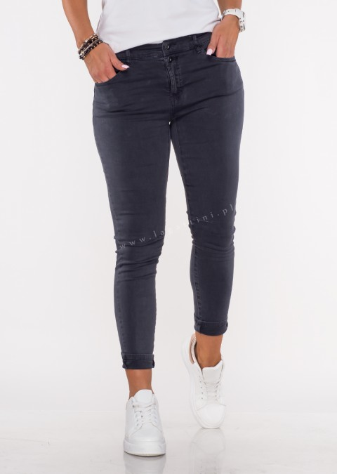 Włoskie jeansy FRASCATI 2 guziki grafitowy /4