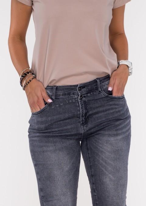 Włoskie jeansy FRASCATI 2 guziki czarny melanż
