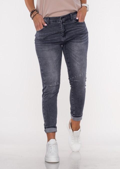 Włoskie jeansy FRASCATI 2 guziki butelkowa czarny melanż