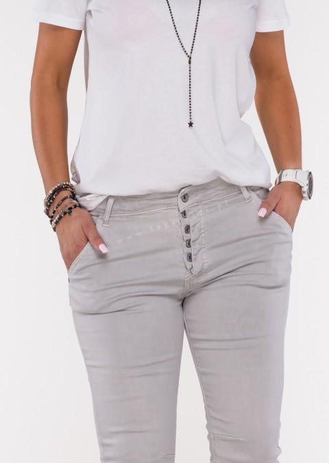 Włoskie jeansy GIACOMO guziki szare
