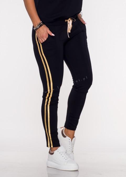 Spodnie dresowe CINGOLI złoty lampas czarne