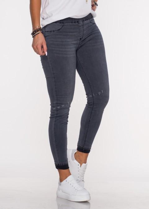 Włoskie jeansowe legginsy IVREA czarny melanż