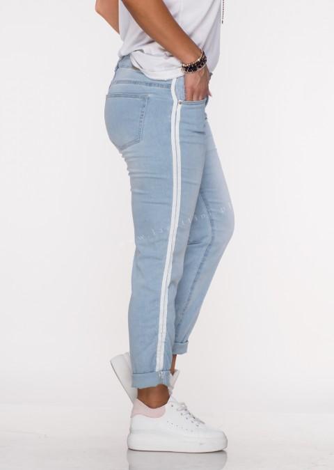 Włoskie jeansy POZZO lampas jasny jeans