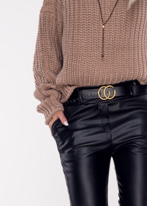 Włoskie spodnie CC ECO LEATHER + pasek ocieplane czarne