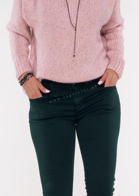 Włoskie klasyczne jeansy CARMONETTI butelkowa zieleń /43