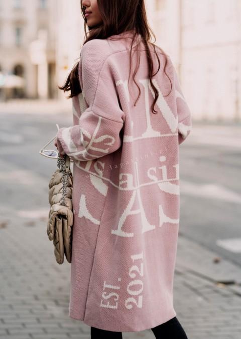 Sweter Cocomore EST. 2021 różowo-biały