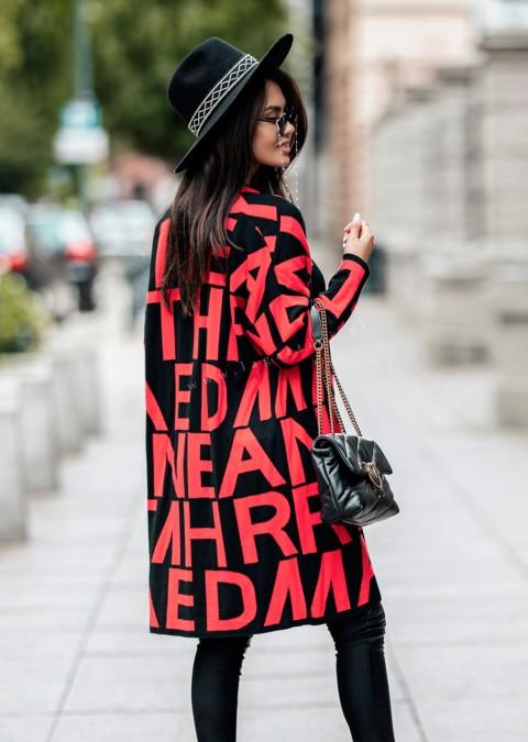 Sweter Cocomore WORDS czarno-czerwony