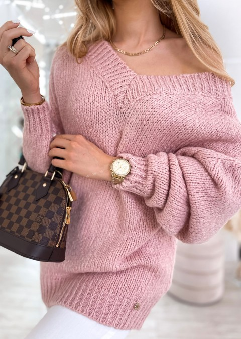 Sweter Cocomore V_neck THERESE różowy