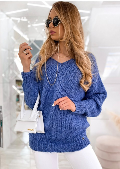 Sweter Cocomore V_neck THERESE niebieski